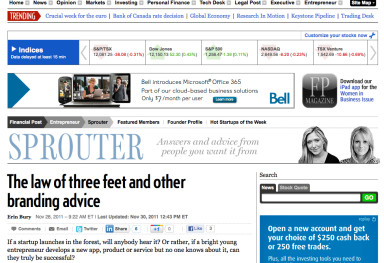 The Law of three feet in Financial Post