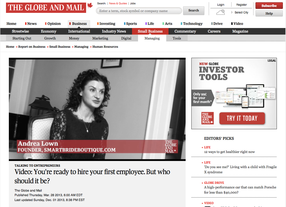 Andrea Lown interviewed in Globe and Mail Entrepreneurs Video